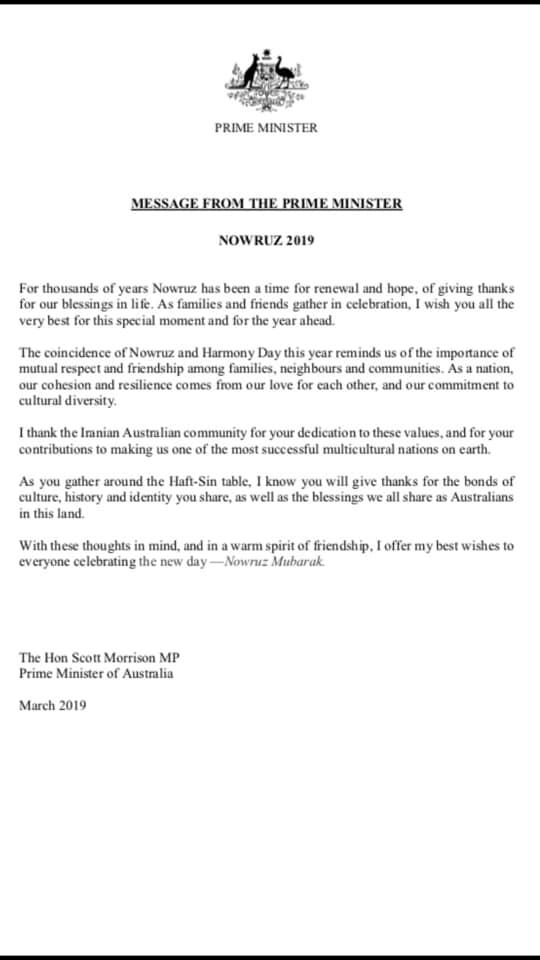 پيام نوروزى نخست وزير استراليا