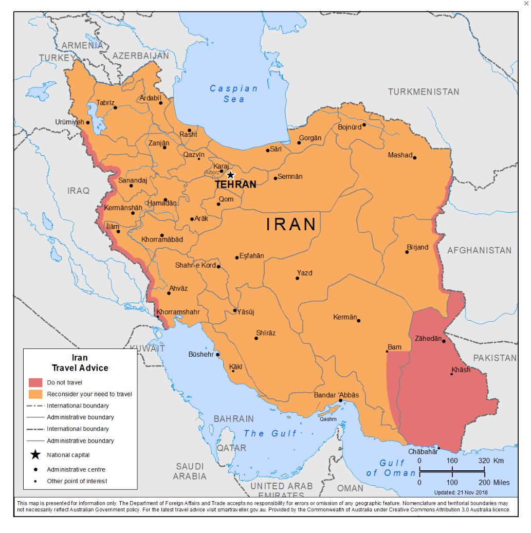 تازهترین بروزرسانی دولت استرالیا در خصوص سفر به ایران